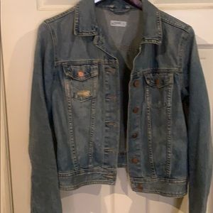 Distressed crop jean jacket